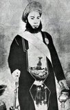 Sayyid Hamad bin Thuwaini Al-Busaid, GCSI, (1857 - August 25, 1896) (Arabic: حمد بن ثويني البوسعيد‎) was the fifth Sultan of Zanzibar. He ruled Zanzibar from March 5, 1893 to August 25, 1896.<br/><br/>  He was married to a cousin, Sayyida Turkia bint Turki al-Said, daughter of Turki bin Said, Sultan of Muscat and Oman. Hamid died suddenly at 11.40am on 25 August 1896 and was almost certainly poisoned by his cousin Khalid bin Barghash who proclaimed himself the new sultan and held the position for three days before being replaced by the British government after the 40 minute long Anglo-Zanzibar War.
